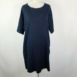 Ichi Antiquites 100% Cotton Shirt Dress Navy Blue